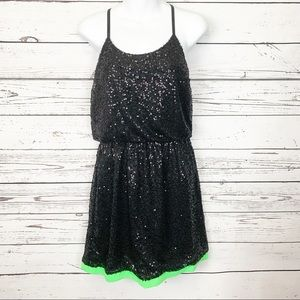C LUCE | black sequin green racerback dress NWT